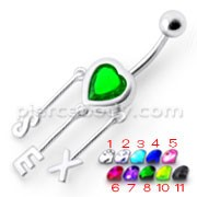 Silver Green Stone Jeweled SEX Symbol Navel Ring