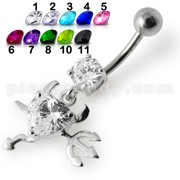 Jeweled Devil heart Dangling Belly Ring