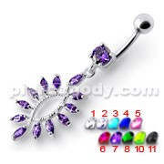 Silver Jeweled Dangling SS Curved Bar Belly Ring Body Jewelry
