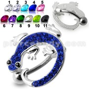 Fancy Jeweled Colorful Lizard Dangling Navel Ring