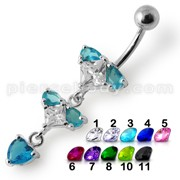 Silver Fancy Blue Stone Studded Jeweled Dangling Belly Ring