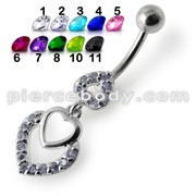 Fancy Jeweled Multi Heart Dangling Navel Ring