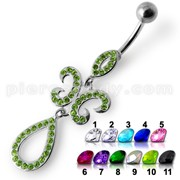 Fancy Green Stone Studded Jeweled Dangling SS Bar Belly Ring