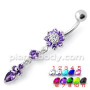 Fancy Purple Jeweled Flower Dangling Banana Belly Ring
