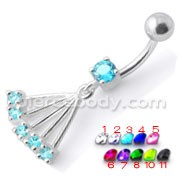 Navel Ring with Big Long Dangling Jeweled Chains With SS Curved Bar