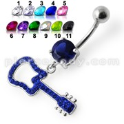 Silver Fancy Blue Stone Jeweled GUITAR Dangling Navel Ring