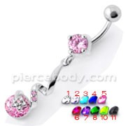 Fancy Jeweled Dangling Star SS Bar Belly Ring