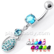 Fancy Blue Stone Tear Drop Jeweled Dangling Navel Ring
