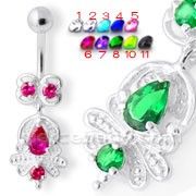 Fancy 925 Sterling Silver Jeweled Navel Banana