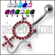 Fancy Silver Red CZ Jeweled Curved Bar Navel Ring Body Jewelry