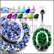 Silver Fancy Green Stone Jeweled 316L SS Bar Belly Ring