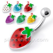 Fancy Strawberry Silver Belly Ring