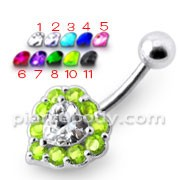 Multi Jeweled Heart Silver Belly Ring