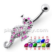 Jeweled Sea Horse Silver Navel Ring