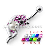 Bear Holding pearl Silver Belly Ring