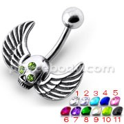 Flying Skull Silver Belly Ring