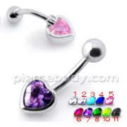 Purple Jeweled Heart Silver Belly Ring With SS Banana Bar PBN1121