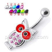 Jeweled Owl Silver Belly Ring