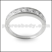 Jeweled Fashion Silver Ring Band Body Jewelry