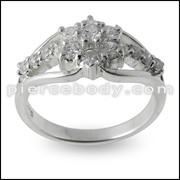 Multi CZ Jeweled Fashion Silver Finger band