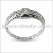 Jeweled Stylish Fashion Silver Finger Band Ring