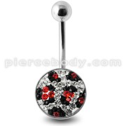 Crystal stone Jeweled Banana Bar Belly Ring with steel Base