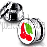 Red Cherry Logo With SS Screw Fit Ear Tunnel