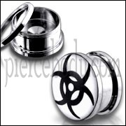 Black Tribal Logo With SS Screw Fit Ear Tunnel
