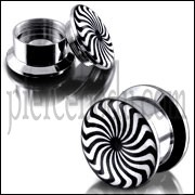 SS Internal Screw Fit With Eye Swril Logo Ear Tunnel