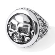 Stainless Steel Skeleton Shield Finger Ring