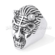 Stainless Steel Demon with Horn finger ring