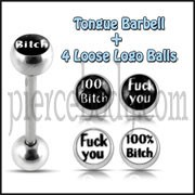 Tongue Barbell with 4 Free Logo Ball