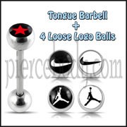 Tongue Barbell with 4 Free Nike Logo Ball