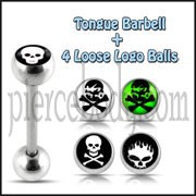 Tongue Barbell with 4 Free Skull Logo Ball