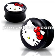 Double Flared Hello Kitty Logo Ear Plug
