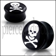 Double Flared  Internal Threaded Skull Logo Ear Plug