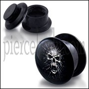Black UV Internal Mummy Skull Logo With Screw Fit Ear Tunnel