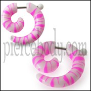 Hand Painted Pink And White Spiral Fake Ear Plug