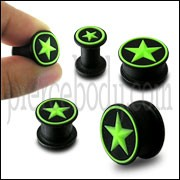 Embossed Green Star Silicone Ear Plug