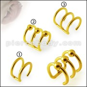 Gold Anodized Cartilage 'Clip-On'  316L Surgical Steel Bar Closure Ring