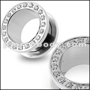 Micro Setting Jeweled Screw Fit Flesh Tunnel