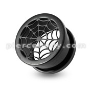 Black-line Spider Screw Fit Flesh Tunnel