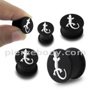 Embossed White Gecko Silicone Ear Plug