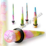 Pink Yellow Mix Flower Straight Ear Taper Body Jewelry