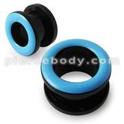 UV Light Blue Inlay Screw Fit Flesh Tunnel