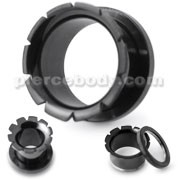 316L Surgical Steel Hollow Grooved Flared Front Screw Fit Flesh Tunnel