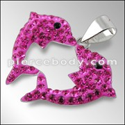 Crystal stone Twin Dolphin Pendent