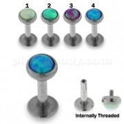 Opal Stone Jeweled Top Madonna Labret Piercing