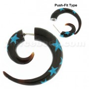 Blue Star Inlay Organic Horn 6 mm Spiral Fake Ear Plug