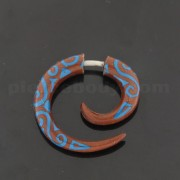 Saba Wood Organic 4 mm Spiral with Blue Inlay Fake Ear Plug